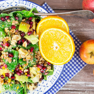 Lentil Salad with Spinach and Pomegranate