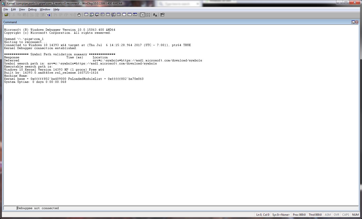 Setting up kernel debugging using WinDbg and VMware