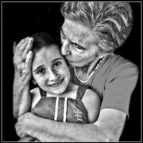 Grandma and granddaughter by Darko Kordic - Black & White Portraits & People