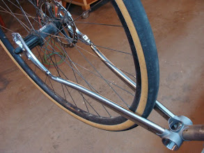 Photo: Mocking up the stainless chainstays and Paragon Polydrops after some custom bending.