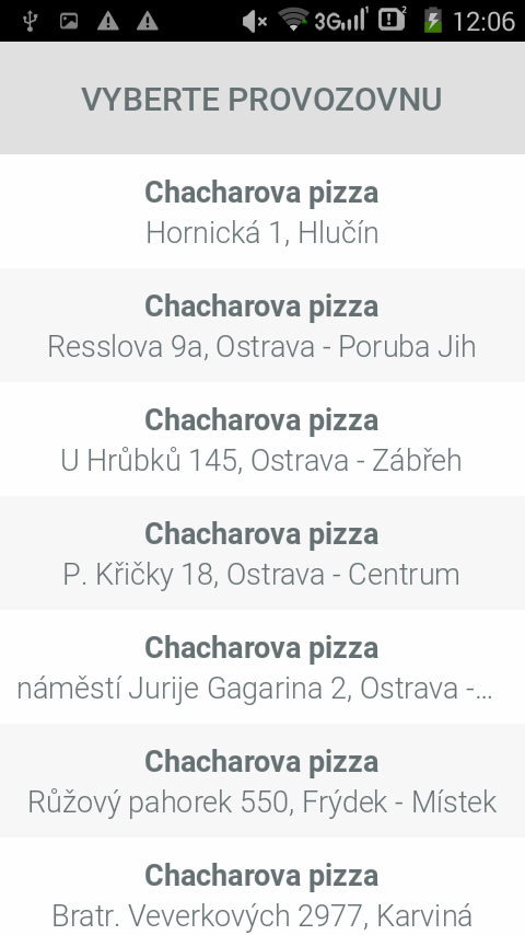 Chacharova pizza- screenshot