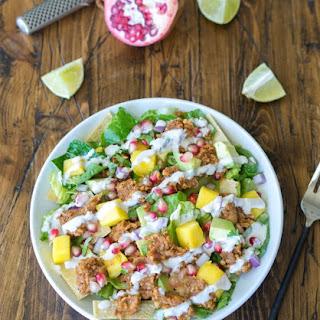 Chickpea Taco Salad with Pomegranate and Mango.