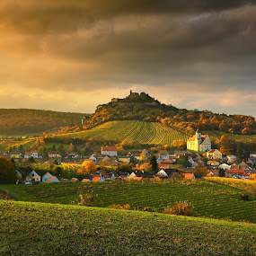 Falkenstein by Matej Kováč - Landscapes Prairies, Meadows & Fields ( field, village, autumn, vineyards, sunset, clounds, landscape, fields )