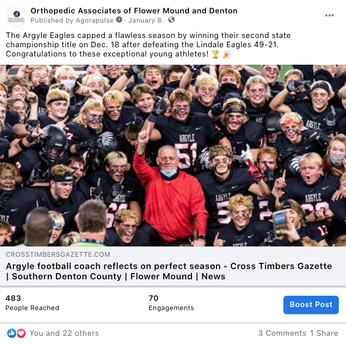 """Screenshot of an example of a Facebook post that represents a """"Local News"""" post"""