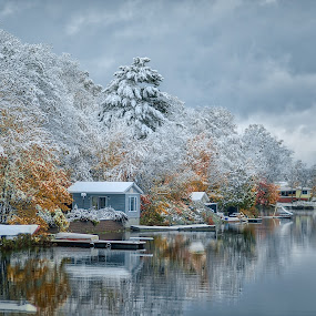 First Snow  by Melissa Connors - Landscapes Waterscapes ( canada, reflection, bluel, snow, autumn, clouds, lake )