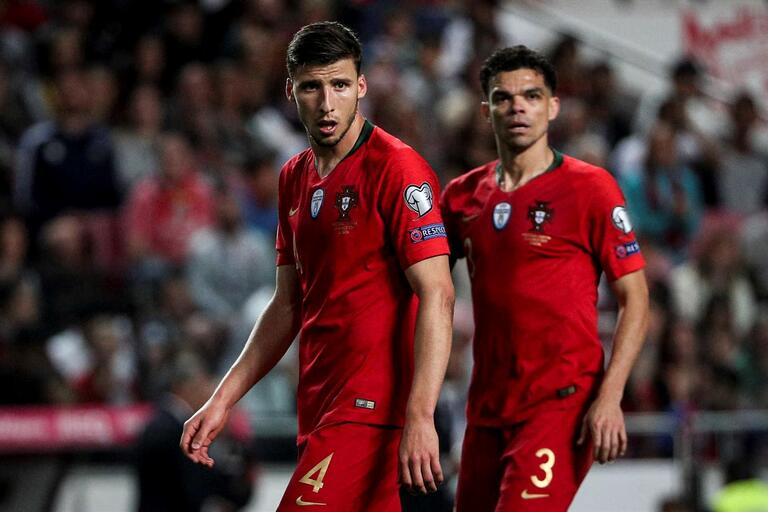Ruben Dias and Pepe in Portugal jerseys