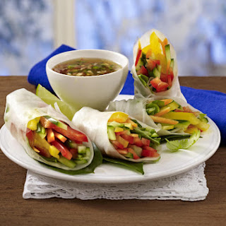 Vegetable Rolls with Dipping Sauce.
