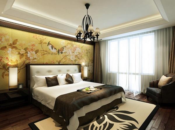 Phòng ngủ với tranh tường lớn