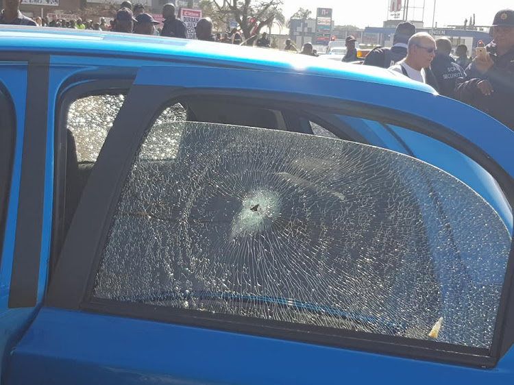 One of the vehicles struck as hijackers clashed with private security in Northcliff, Johannesburg, on Thursday afternoon.