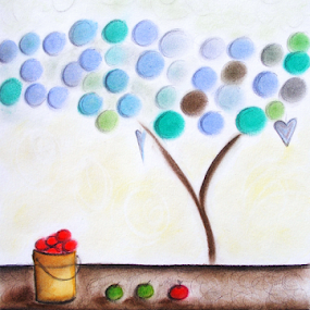 A Delightful Day by Jennifer van Niekerk - Drawing All Drawing ( pastel, delightful, bright, copper, bucket, drawing, delight, love, naive, tree, happy, apples, soft pastel, endearing, cheerful, abstract, fruit, cheer, green, art, whimsical, pale, lime, bronze, red, blue, contemporary, apple, lazy, design )
