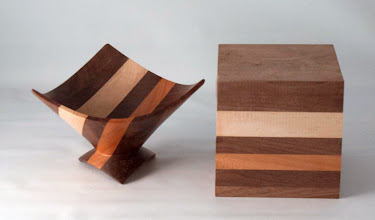 "Photo: Bob Grudberg 5"" X 5"" three-corner bowl, and another sample block to show how it was made [maple, walnut, cherry]"