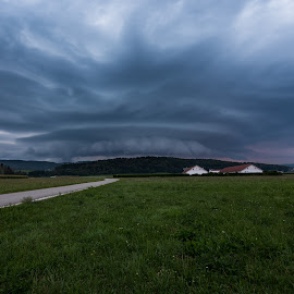 Storm of the season by Matic Cankar - Landscapes Weather ( sky, rain, no person, storm, road, dusk, grass, houses, weather, clouds, thunder, landscape )
