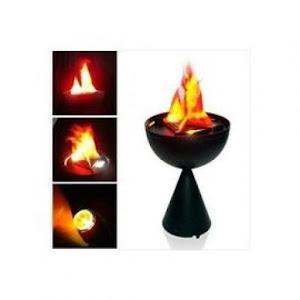 Lampa de interior cu flacara falsa prevazuta cu picior de sustinere