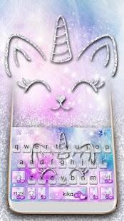 Silver Unicorn Cat Keyboard Theme - náhled