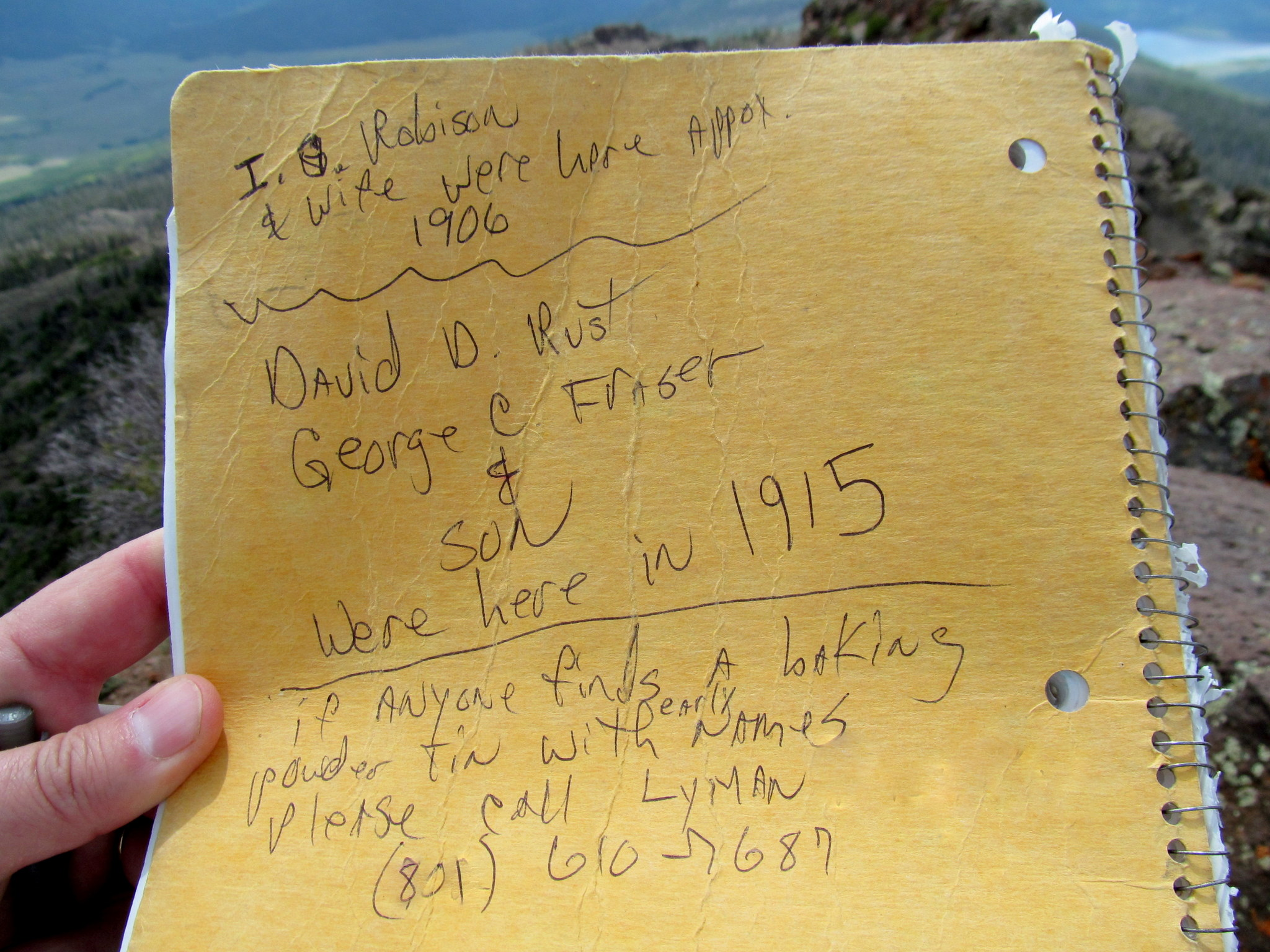 Photo: Lyman's note