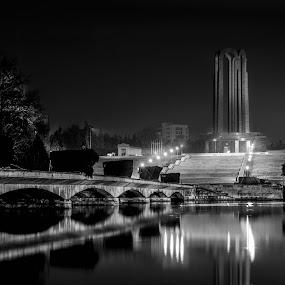 Midnight in the Carol park by Mircea Bogdan - City,  Street & Park  City Parks ( monuments, b&w, park, night, lake, bridge )