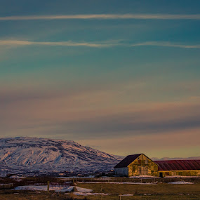 Iceland Barn by Paul Glinowiecki - Landscapes Mountains & Hills ( clouds, mountain, barn, sunset, landscape,  )