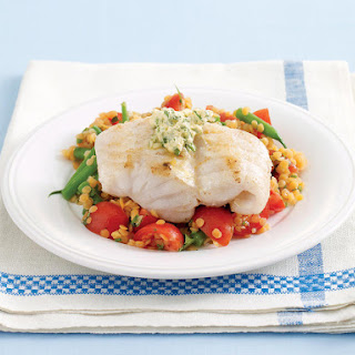 Lemon Fish with Red Lentil Salad.