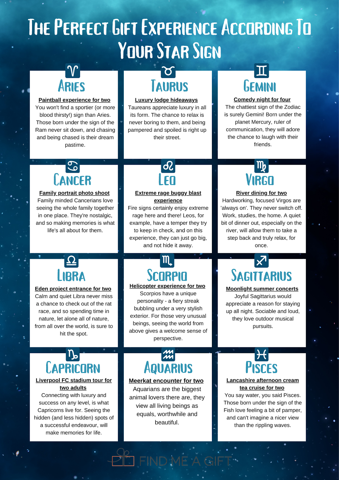Experience Gifts Based On Your Star Sign