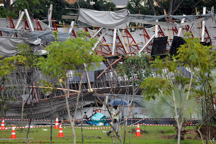 A view of an uncompleted highway structure that collapsed in Singapore July 14, 2017.