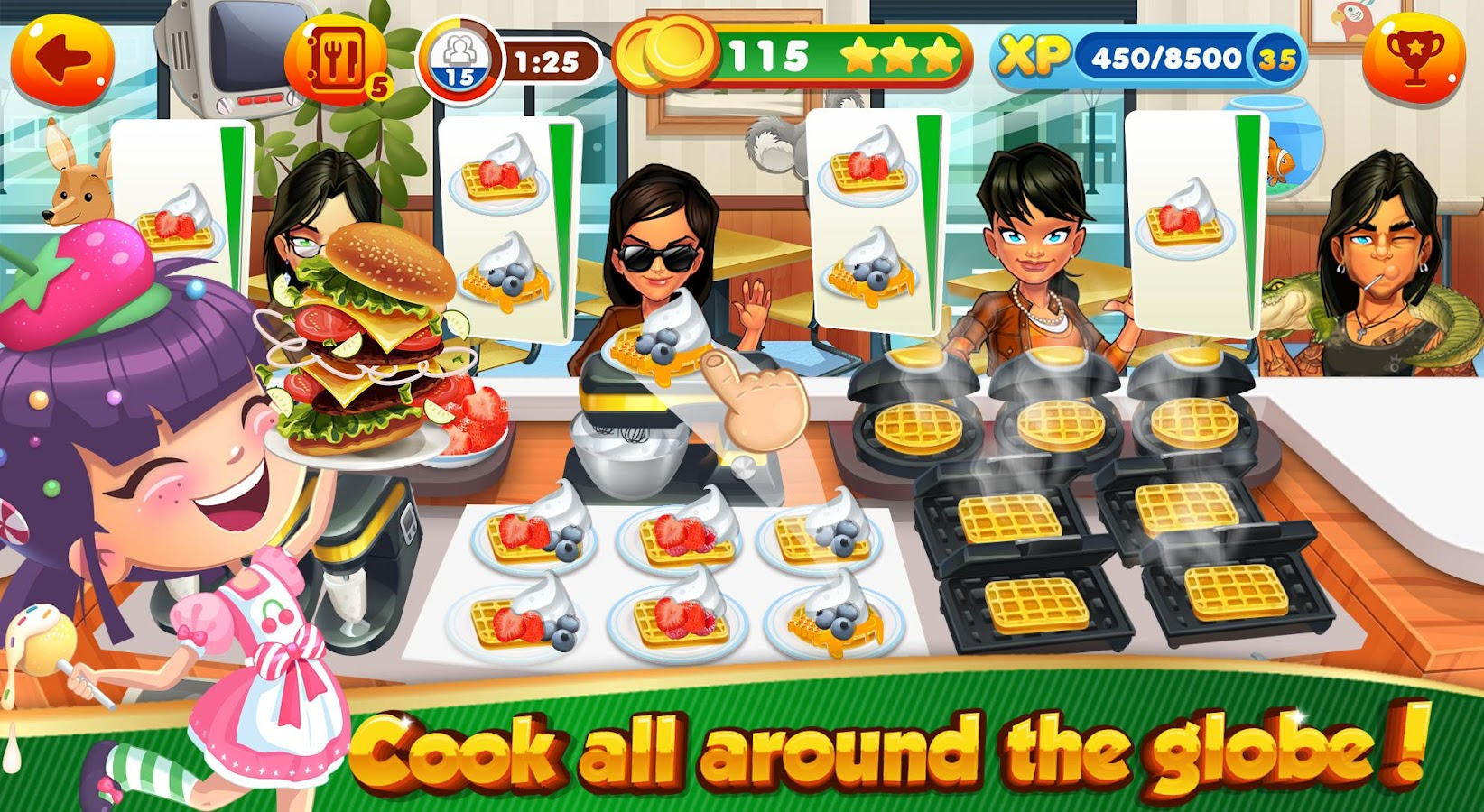Selection of cartoons on cooking kitchens food and eating - Cooking Games For Girls Kitchen Chef Food Maker Screenshot
