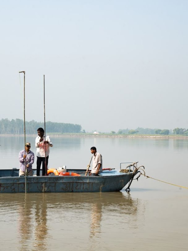 People on a boat in India.