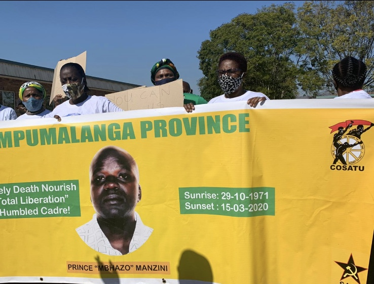 Supporters of the late Manzini protested outside of court