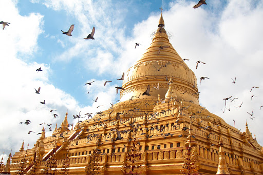 bagan-myanmar-pagoda - The Shwezigon pagoda in Bagan, Myanmar. See it on a luxury river cruise.