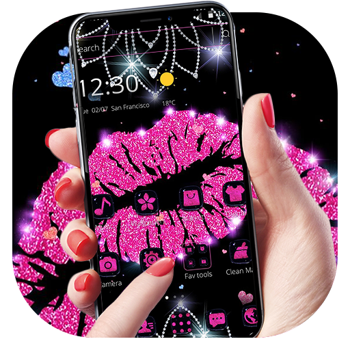 Pink Glitter Lips Theme Android APK Download Free By Abby Theme Center