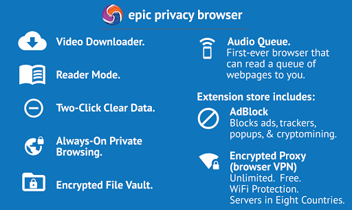 Epic Privacy Browser with AdBlock, Vault, Free VPN Apk Download For Android 8