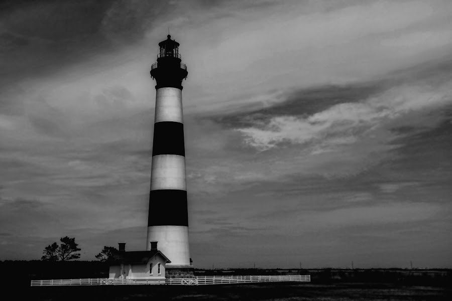Atlantic Storm A'brewin by Bill Dickson - Black & White Buildings & Architecture ( lighthouse, coluds, black and white, water, structure,  )