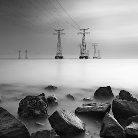 Connecting by Stanley Loong - Black & White Landscapes ( tower, dreamy, black and white, waterscapes, rocks, daylight,  )