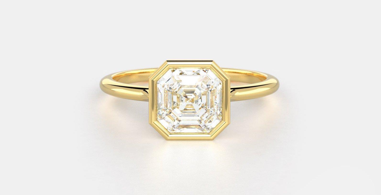 Parker No. 1 a bezel set Asscher diamond