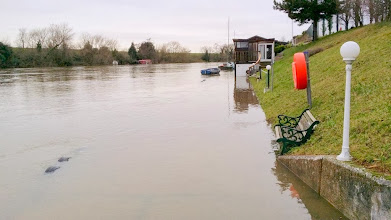 Photo: Aquarius moorings with flood water 300 to 400mm over the bank on Saturday 4 January 2014