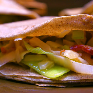Buckwheat Crepes with Gruyere and Leeks.