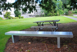 Photo: Sing Core - Custom Aluminum Clad Honeycomb Core Bench made for University. With our core and the metal skins you can be sure this bench will last for years outside in the elements