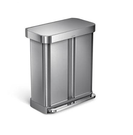 2-facks pedaltunna Simplehuman 58 liter(34/24) borstat rostfritt stål