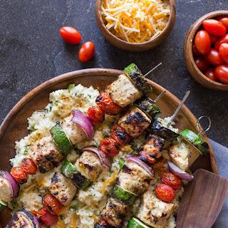 Pork Tenderloin Kabobs With Cheesy Broccoli Rice