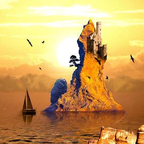 Castle Island by Charlie Alolkoy - Illustration Places ( sunset, sea, ocean, castle, island )
