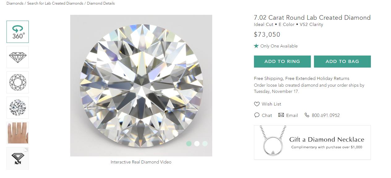 Marketing w branży jubilerskiej - zdjęcie syntetycznego 7-karatowego diamentu