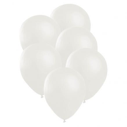 Ballonger, satin vit 6 st