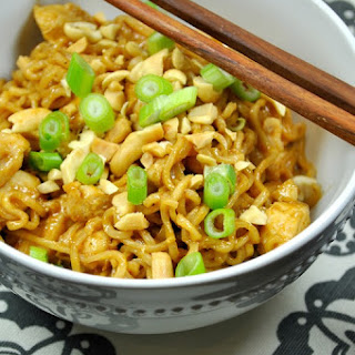 Chicken Ramen Noodles in Peanut Soy Sauce.