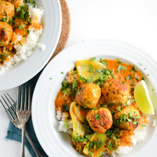 Thai Meatballs with Red Curry Coconut Sauce.