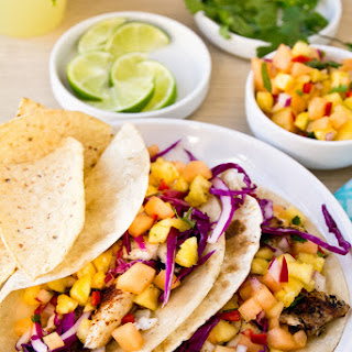 Grilled Fish Tacos with Cantaloupe-Pineapple Salsa.