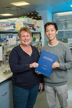 """Photo: A/Prof Margaret Hibbs with her recent PhD student, Dr Maverick Lau, who completed and passed his thesis late in 2014. His topic was """"Increased Lyn and Hck Activity in Mice Drive Distinct Sub-Phenotypes of Chronic Obstructive Pulmonary Disease"""". http://www.med.monash.edu.au/immunology/research/leukocyte-lab.html"""