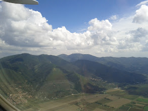 Photo: A last look at Monte Serra and its radio masts.