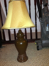 Photo: $1, brown lamp with beige shade