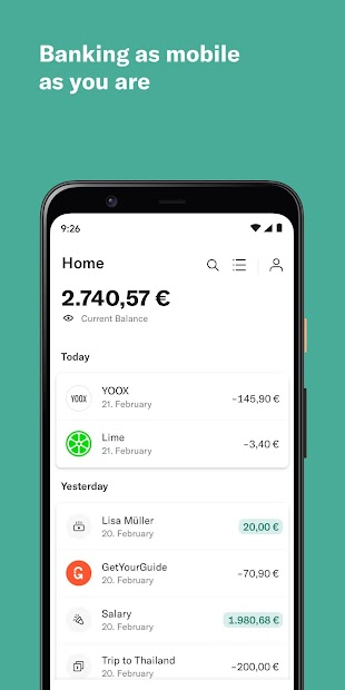 N26 — The Mobile Bank Android App Screenshot