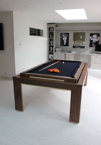 Dark timber revolving pool table