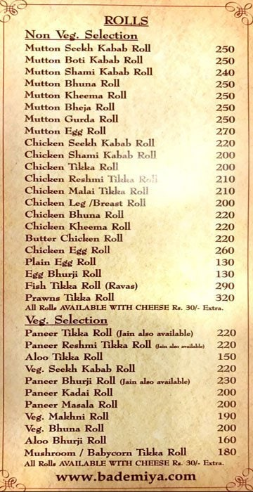 Bademiya menu 4
